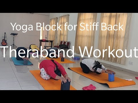 yoga block for back stretching l theraband shoulder