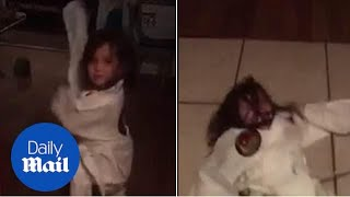 Little girl demonstrates taekwondo moves and fails miserably - Daily Mail