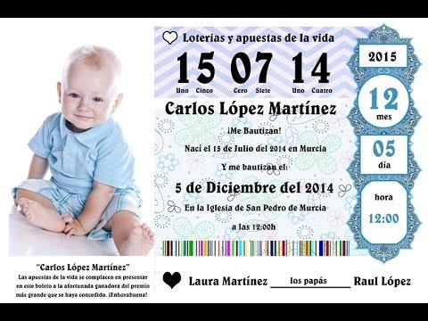 tutorial photoshop español invitación bautizo décimo de lotería