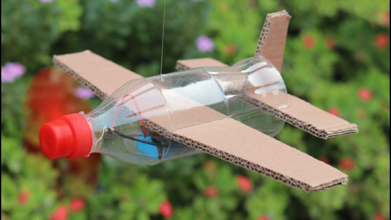 How to make flying airplane using cardboard and coke for Making hut with waste material