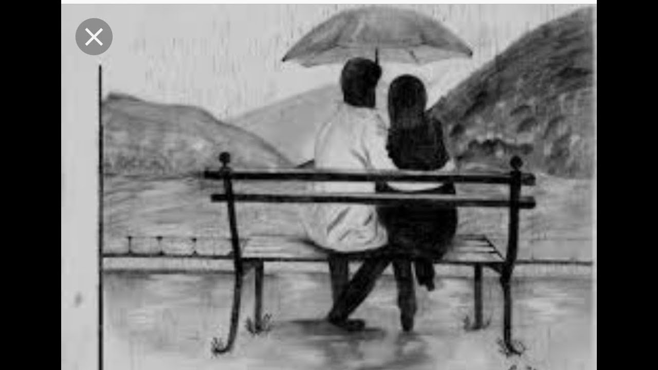 How to draw a couple sitting on the bench pencil sketch drawing tutorial