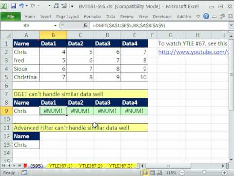 Excel Magic Trick 595: DGET #NUM! Error same as Advanced Filter Duplicate Problem Extract Record