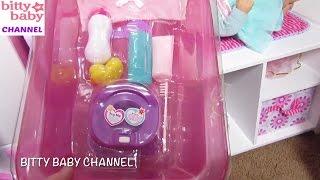 AMERICAN GIRL Bitty Baby doll Daphnee gets a new My Sweet Love Bathtub + Elsa gives doll a bath!
