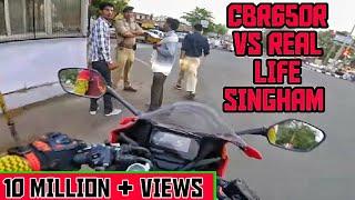 CBR650R Vs Singham of real life Part1 | Cops vs biker | Indian police vs bike rider | Cbr650r busted