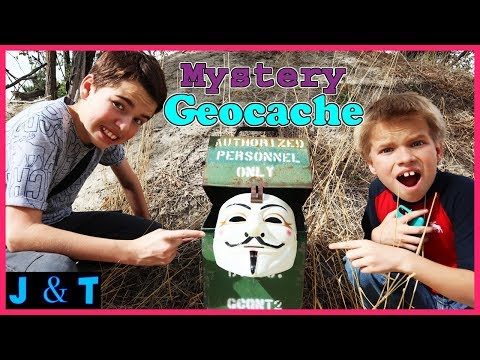 Surprise Mystery Hidden Treasure Geocaching In Real Life 2018 / Jake and Ty