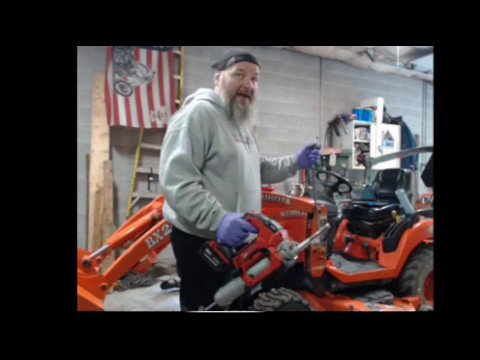 Servicing the Kubota BX24 & BS'ing & battery powered Milwaukee grease gun! From live stream: