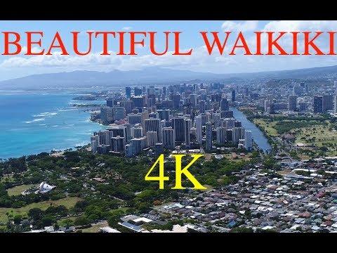 BEAUTIFUL WAIKIKI FROM ABOVE, OAHU HAWAII DRONE 4K