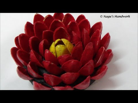 Art from waste recycled pistachio flower diy by nagu 39 s for Waste material hand work