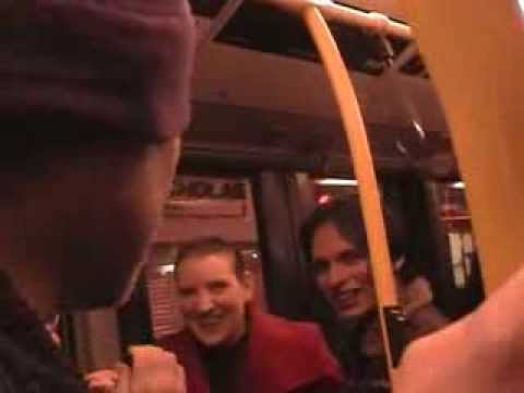 Dan Treacy from Television Personalities leading a sing song on the bus in London.....