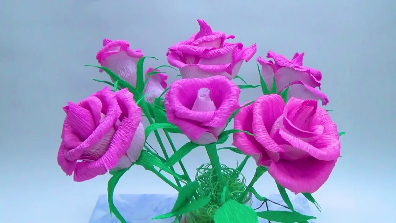 How to make rose paper flower from crepe paper craft tutorial how to make rose paper flower from crepe paper craft tutorial diy paper crafts diy room decor dhlflorist Choice Image