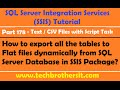 How to export all the tables to Flat files dynamically from SQL Server Database in SSIS Package-P178