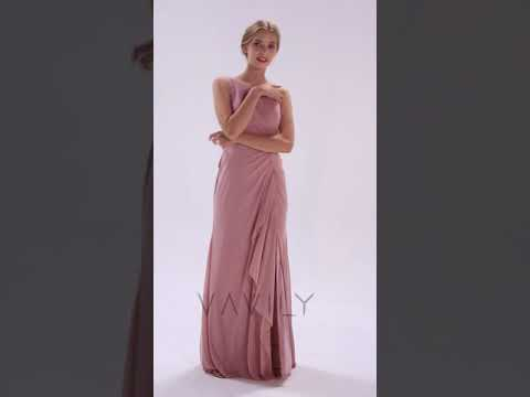 one-shoulder-twisted-knot-cascade-bridesmaid-dress-va29460
