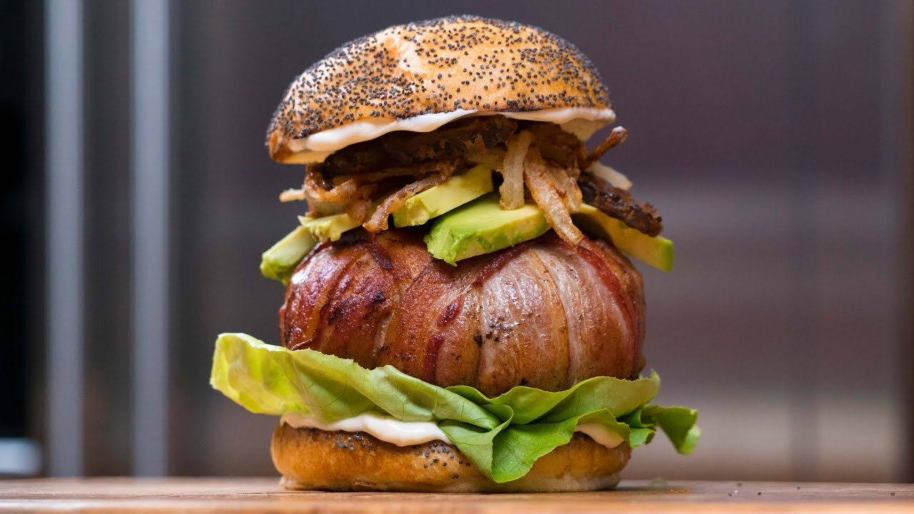 bacon wrapped cheese stuffed burger youtube