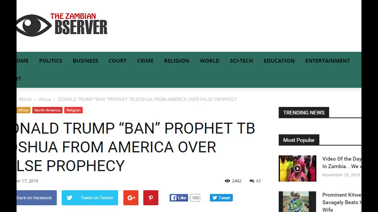 Download TB Joshua Banned from USA over False Prophecy A Hoax
