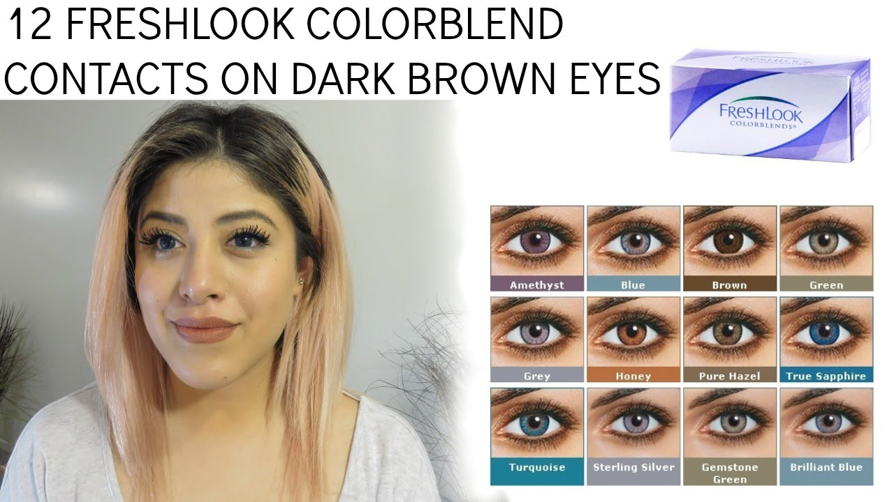 12 Freshlook Contacts On Dark Brown Eyes Youtube