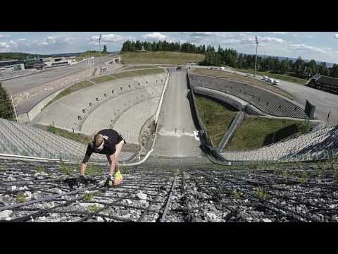GARMIN VIRB XE: Toughest Series-Holmenkollen ski slope uphill run.