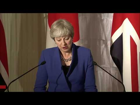 Theresa May speaks during a Japan-UK press conference
