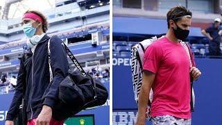 Alexander Zverev and Dominic Thiem walk onto Arthur Ashe for the US Open 2020 Final