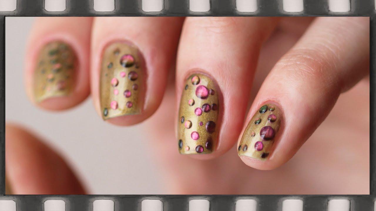 Маникюр гель лаком на короткие ногти. Эффект жидких камней   25D Chrome Nail  Art Gel