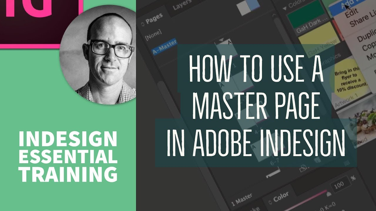 How to use a Master Page in Adobe InDesign - InDesign Essential Training [28/76]