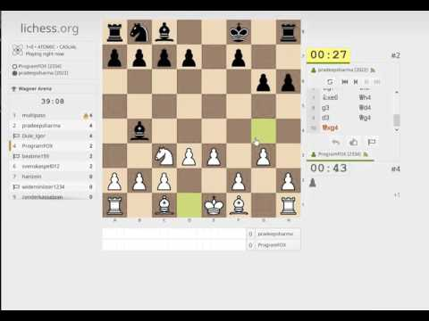 Bullet atomic chess tournament (1+0) on lichess.org (streamed)