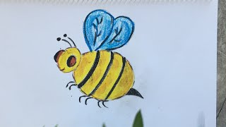 How to draw a honey bee for kids# bumble bee 🐝 drawing for kids