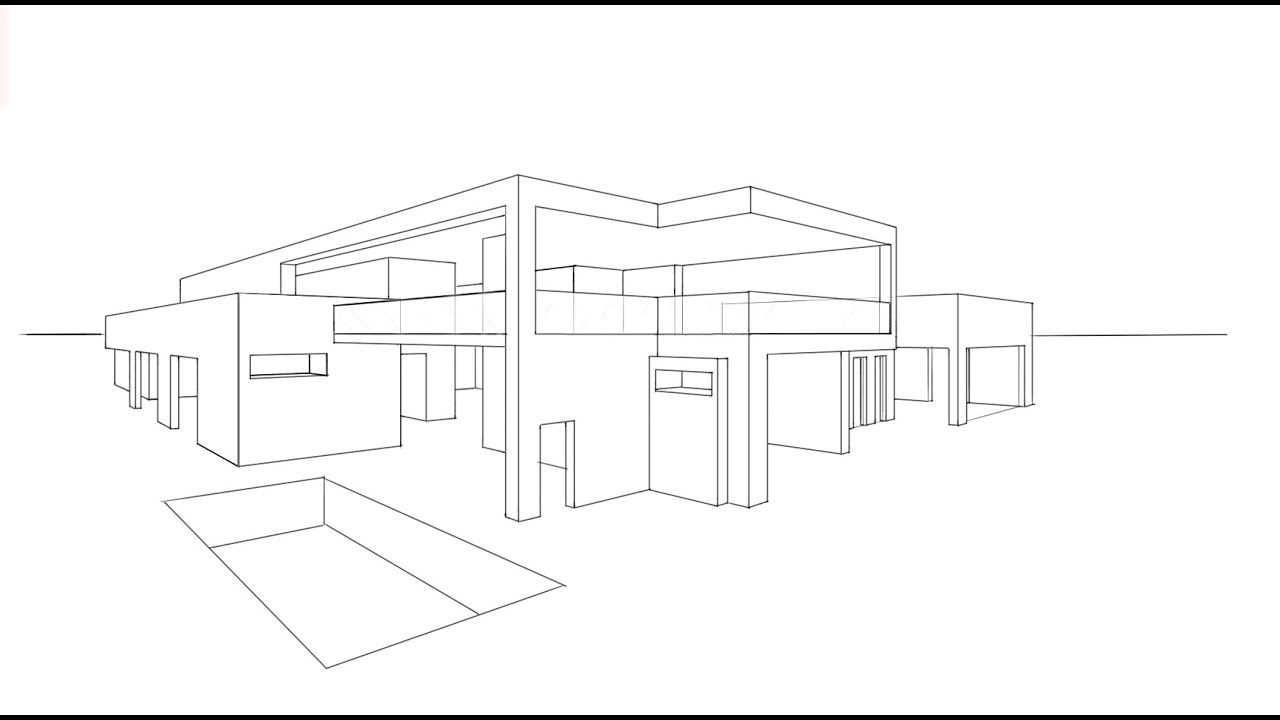 Architecture design 6 drawing a modern house youtube Drawing modern houses