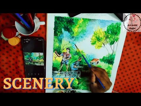 watercolour painting|beautiful scenery and Village composition/drawing step by step #painting❤️❤️