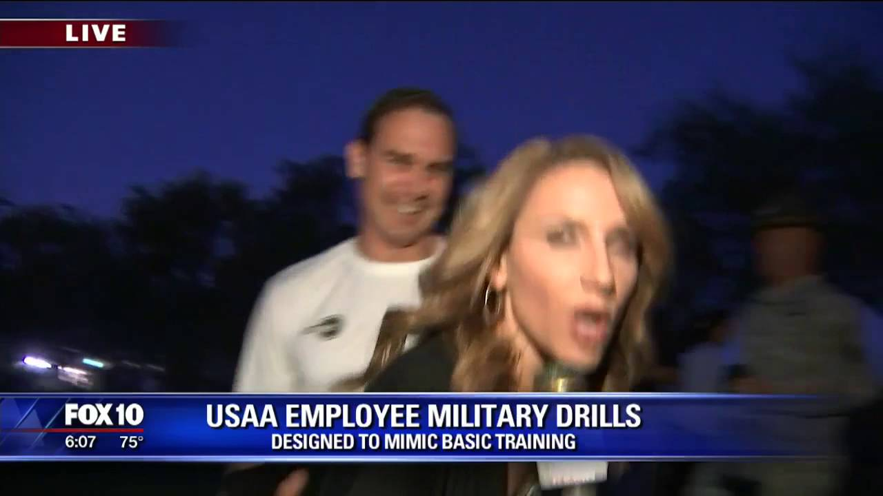USAA employees get early wake-up call for military drills - YouTube