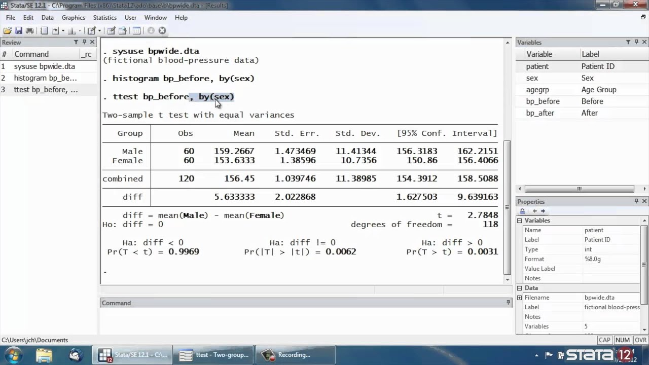 T Test For Two Independent Samples In Stata® YouTube