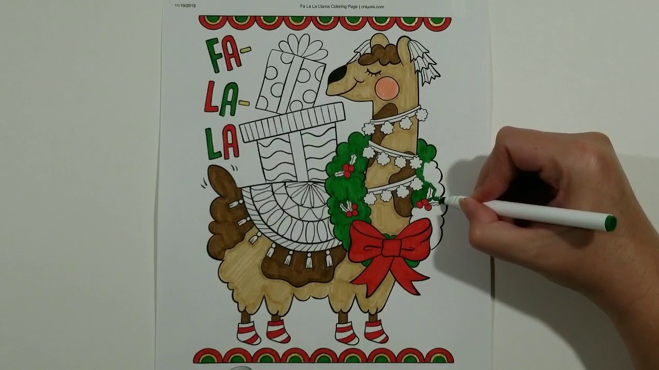 falala llama christmas coloring page!!! coloring videos for kids