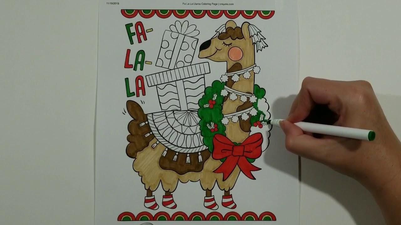 falala llama christmas coloring page!!! coloring videos for kids