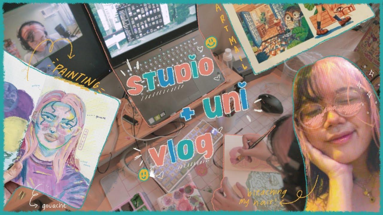 ✿ studio + uni vlog ✿ packing shopee orders, art mail & film projects