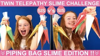 TWIN TELEPATHY SLIME CHALLENGE | PIPING BAG SLIME CHALLENGE EDITION | SIS vs SIS | Ruby & Raylee