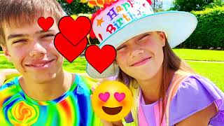 Nastya and Artem - birthday surprises and sweets! Exercises and eats Healthy food