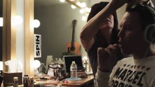 Mark Hoppus rocks out to his favorite music in his dressing room