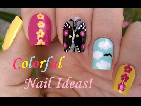 Four Easy Nail Art Designs For Summer! / Butterfly, Flower, Cloud & Dot Nails - 동영상