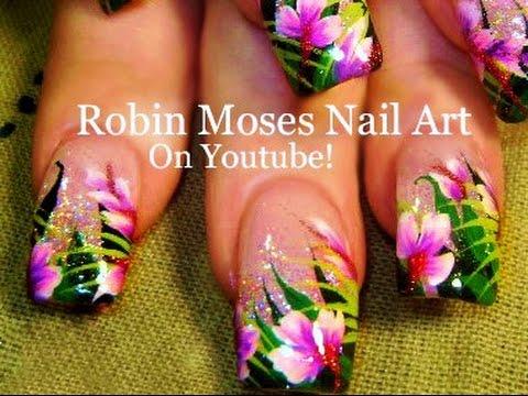 DIY Tropical Flower nails | DIY Holo Glittery Orchid Nail Art design tutorial