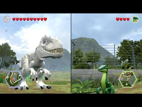 LEGO Jurassic World - Indominus Rex vs Compsognathus - CoOp Fight | Free Roam Gameplay [HD]