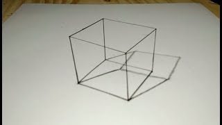 3D Drawing How to Draw 3D Cube Trick Art  For Kids