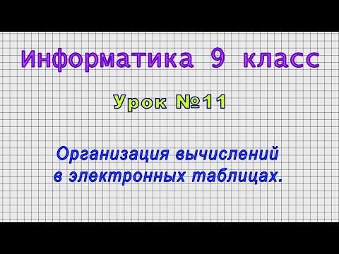Информатика 9 класс (Урок№11 - Организация вычислений в электронных таблицах.)