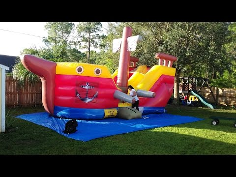 Deliver 3 water slides and 2 bounce houses before 12pm