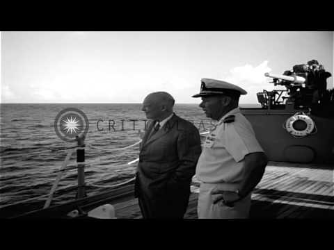 US President Dwight D Eisenhower takes a tour aboard USS Saint Paul (CA-73) at Ma...HD Stock Footage