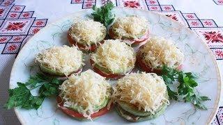 Жареные кабачки с помидорами и сыром Холодная закуска Блюда из кабачков Что приготовить из кабачков