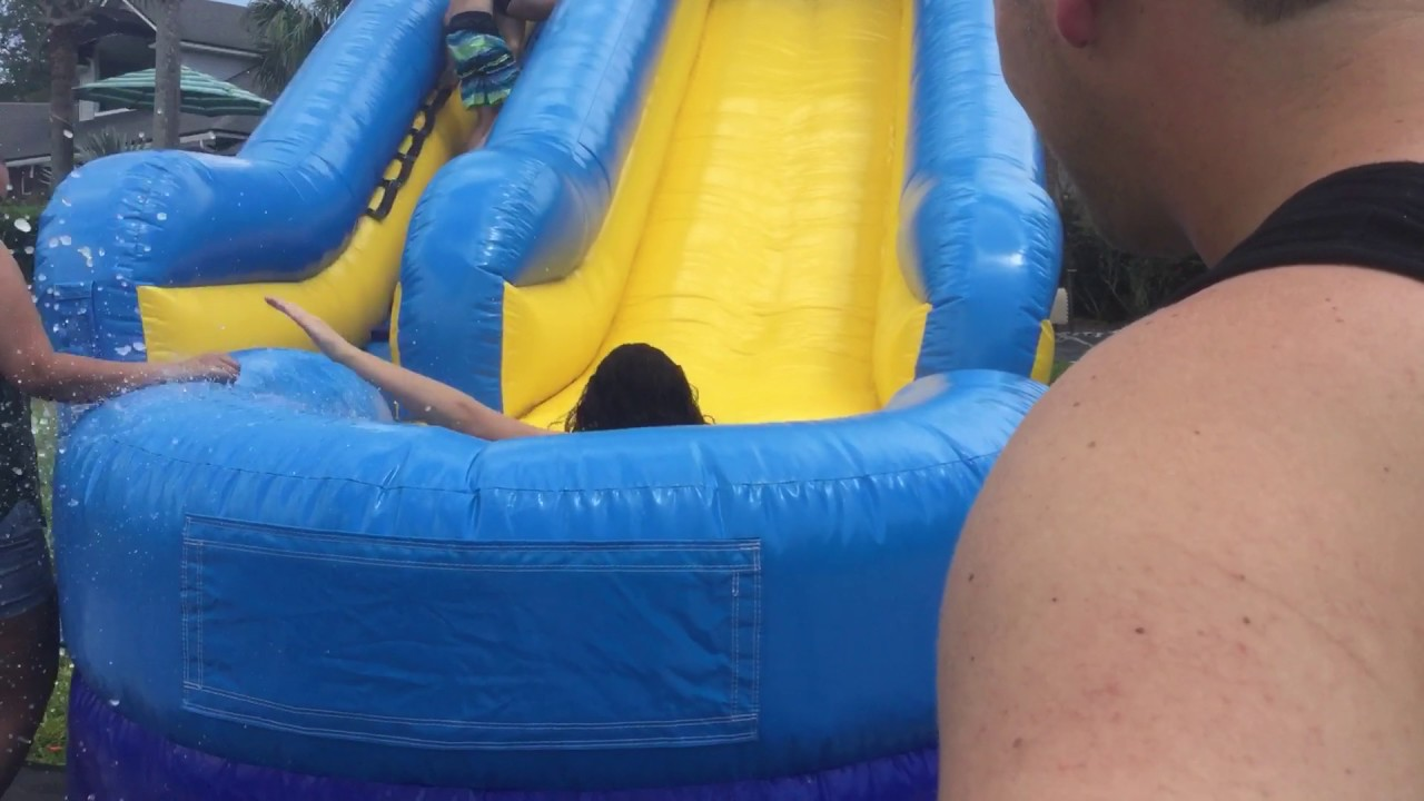 Gorgeous girl loses bikini on water slide porn