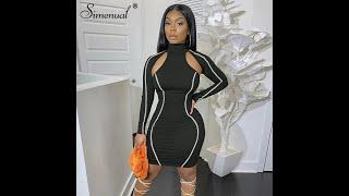 Simenual повседневные женские облегающие платья с длинным рукавом обтягивающие в полоску мода