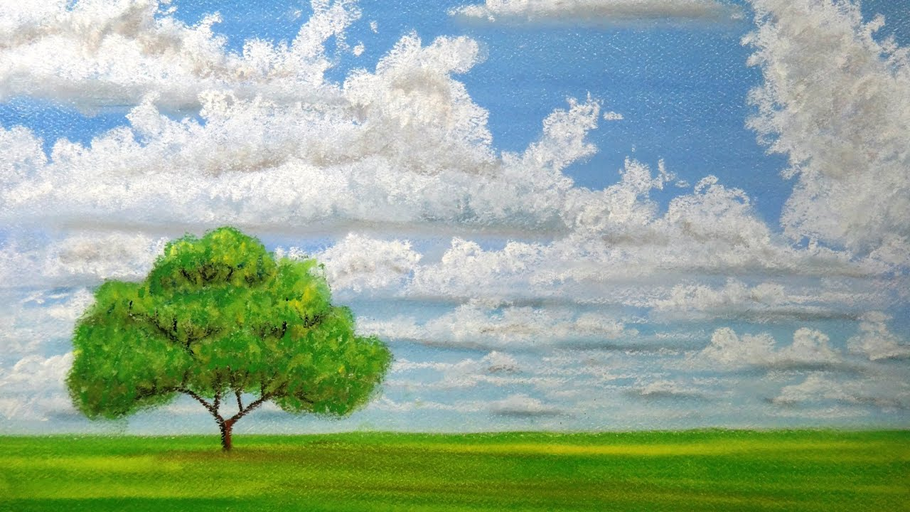 draw clouds with pastels