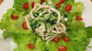 Салат с кальмаром, огурцом, яйцом и зеленым горошком