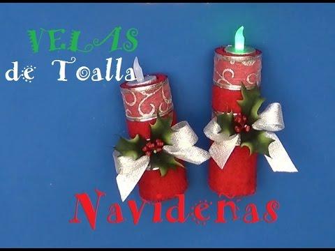 Velas navide as de toalla youtube - Centro de navidad con velas ...