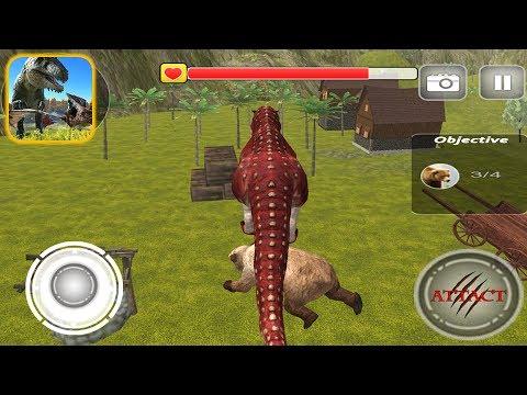 Dinosaur Jungle Survival Sim 2017: T Rex Riding Bear - IOS Gameplay